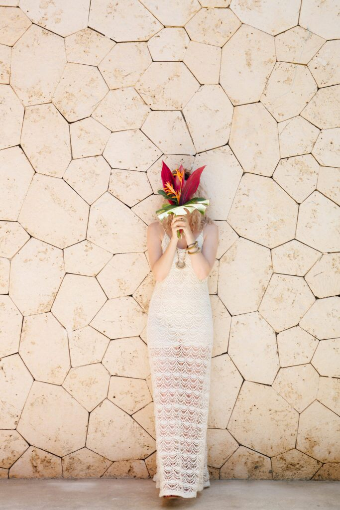 Tropical bride's bouquet for a Mexican wedding