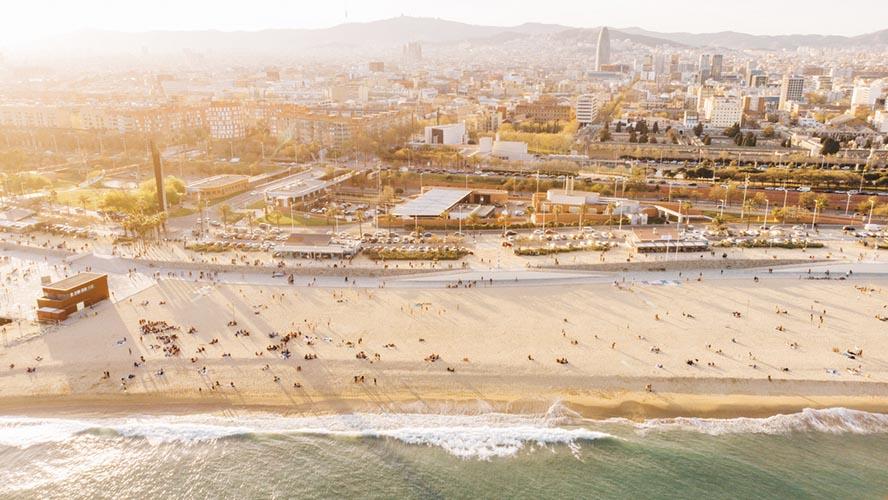 Vista aérea de la Playa de la Barceloneta