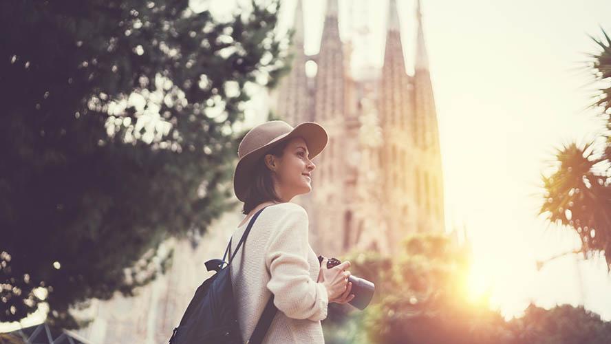 Turista en la Sagrada Familia