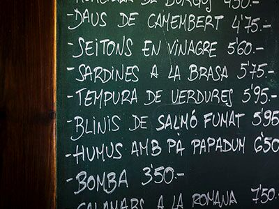 Menú bar de Barcelona