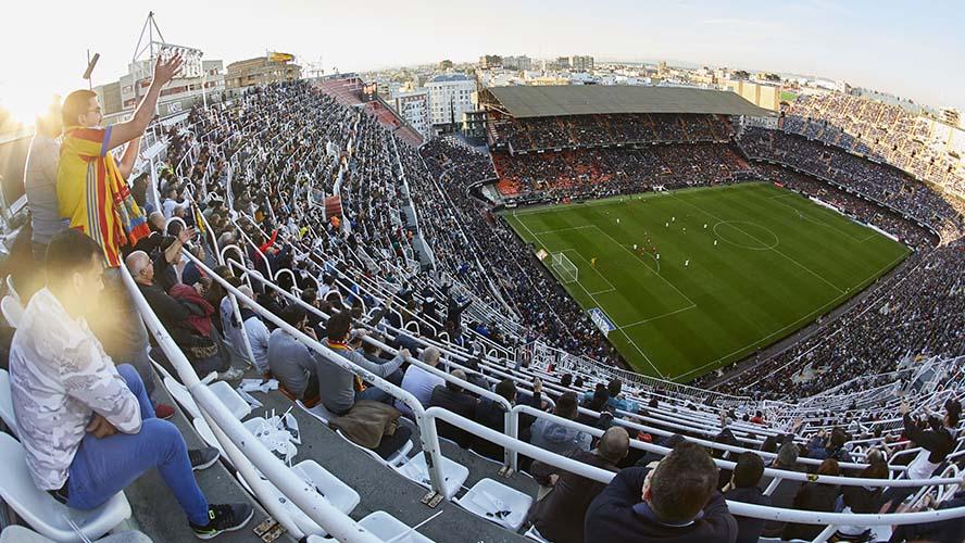 Mestalla en un partido del Valencia F.C.