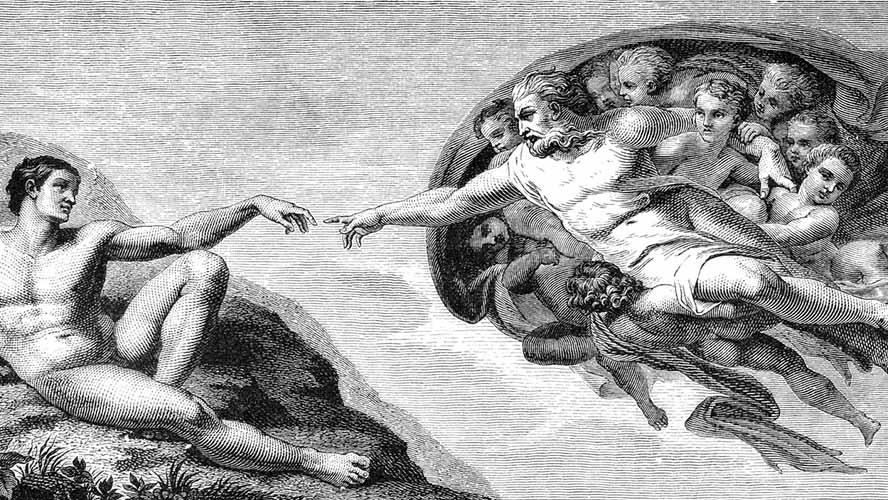 Ilustración la Creación de Adán