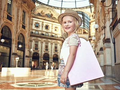 Milán con niños de compras